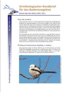 Titelseite des Ornithologischen Rundbriefes Nr. 200