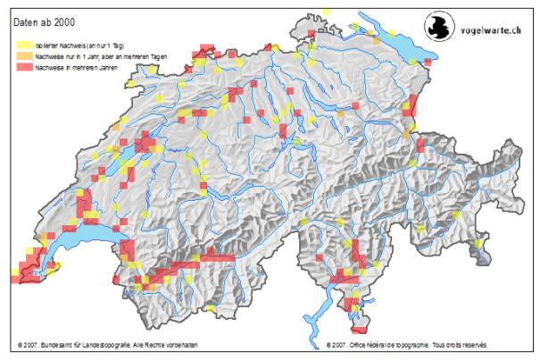 Orpheusspötter - Nachweise Schweiz seit 2000